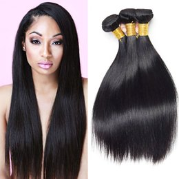 Wholesale Indian Human Hair Raw - New Arrival Malaysian Straight Human Hair Natural Black 3 Bundles Lot 7a Raw Virgin Hair Brazilian Indian Peruvian Cheap Hair Extensions