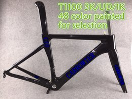 Wholesale 1k Carbon Road Frame - Good quality 44-59.5cm 10 Size 48 Colors for selection T1100 1K 3K carbon road frames F 10 with BSA BB30 free shipping