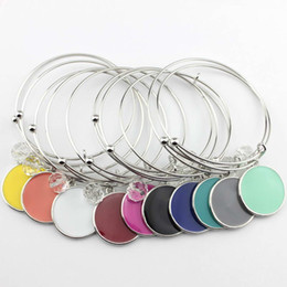 Wholesale enamel charms round - 2018 Rhodium Plated Initial Blanks Bangle Fashion Monogram Blanks Charm Bangles Enamel Flat Round Disc Engraved Bangle Bracelet Adjustable