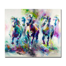 Dipinte a mano dipinti ad olio cavalli online-Nice Colorful Abstract Horses Dipinto a mano Modern Home Decor Abstract Animal Wall Art Pittura ad olio su tela Opzione Multi-size / Frame al-Daf