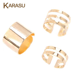 Wholesale rock band set - Wholesale- 3 Pcs Punk Gold Silver Rings Female Anillos Stack Plain Band Midi Mid Finger Knuckle Rings Set for Women Anel Rock Jewelry