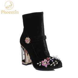 Phoentin black rhinestone flower women boots for wedding retro ladies ankle  boots bird cage high heels zipper velvet shoes FT466 afa9e16f85a2