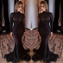 Wholesale Vintage Art Sale - 2018 Hot Sale Cheap Long Evening Dresses High Neck Long Sleeves Floor Length Memraid Prom Party Dresses Formal Evening Gowns Custom Made