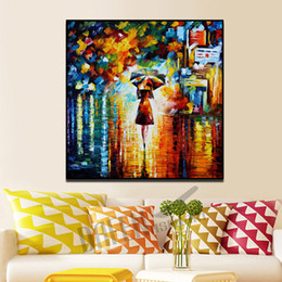 abstract rain painting Coupons - Modern Knife Oil Painting on Canvas Handmade People Romantic Stroll Walk in the Rain Wall Picture for Living Room Bedroom Wall Decor