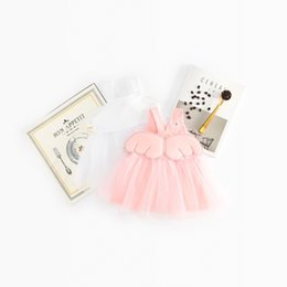 Wholesale back wings - ins NEW girls dress Kids Sleeveless Back Stereo Angle Wing Design boutique dress causal summer girl dresskids clothes high quality