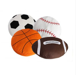 Wholesale plush sofas - Softball Soccer Cushion 45*45cm Football Rugby Baseball Plush Sofa Cushion Ball Dolls Home Decor Summer Styles 4 Styles OOA5258