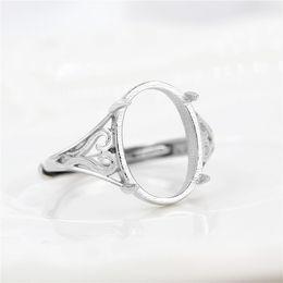 2019 sterling silber ring einstellung oval 925 Sterling Silber Verlobungsring für Frauen 10x14mm Oval Cabochon Semi Mount Ring Einstellung DIY Stein günstig sterling silber ring einstellung oval