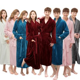 Wholesale Women Xl Flannel Shirt - On Sale Super Soft Extra Long Men Women Warm Coral Flannel Bath Robe Mens Kimono Bathrobe Male Dressing Gown Lovers Winter Robes