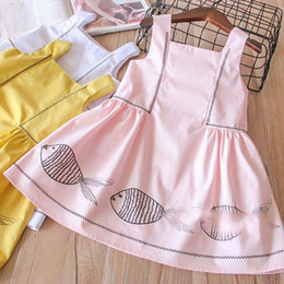 Wholesale Baby Clothes Fishing - Everweekend Girls Fish Embroidered Ruffles Dress Cute Baby Pink Yellow and White Color Clothes Princess Spring Party Clothing