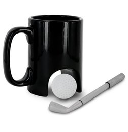 Wholesale office coffee - Creative Black Ceramic Cup Casual Golf Coffee Mug For Office Worker High Temperature Resistant Tumbler High Quality 16hy CB