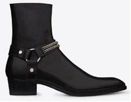 Wholesale ankle boots mens dress shoes - Militares Shoes Men Fashion Wyatt Biker Chains Ankle Boots Mens Shoes Pointed Toe Buckle Men Boots Brown Leather Men Dress Shoes Botas