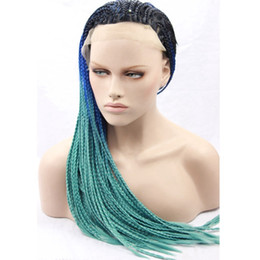 Wholesale Three Tone Lace Front Wigs - Braided Lace Front Wigs 1b Black Blue Green Three Tone Synthetic Lace Front Wig Ombre Glueless Braided Synthetic Wigs Heat Resistant