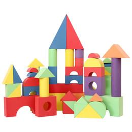 Pack de construction en Ligne-Éponge de grande mousse EVA environnementale blocs de construction souples, grands jouets de puzzle maternelle50pcs dans un paquet