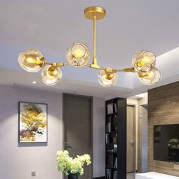 Wholesale Ball Posts - Designer chandeliers in the Nordic idea branches pendent lamp glass ball lamp droplight of post-modern art