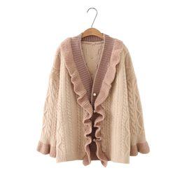 2018 V-Neck Long Sleeve Autumn Women Sweater Coat Open Stitch Ruffles Women  Cardigans Coat Poncho Femme discount cardigan femme 66b7eb13e