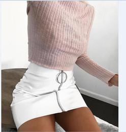 0e7eba0ee53 Sexy Women Fashion High Waist Zip Faux Leather Short Pencil Bodycon Mini  Skirt 2017 New Solid White Skirt sexy black faux leather skirt on sale