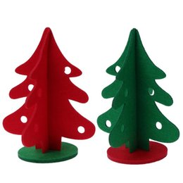 Wholesale Green Figurines - Red \ Green Christmas Tree Window Table Ornaments Hotel Mall Decor 2 Sizes Three-dimensional Christmas Decoration Supplies