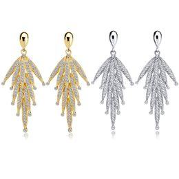 Argentina Zhefanku Pendientes de diamantes de imitación largos de moda coreana para las mujeres de la borla grande cuelgan gota partido pendiente de la joyería de oro color de plata cheap dangling korean earrings Suministro