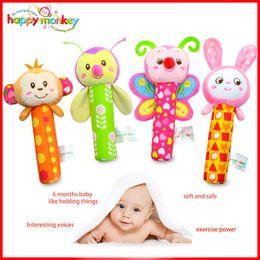 Wholesale toys bibi - Wholesale- 4 Style Stuffed Handbells Baby Rattles Cartoon Toy BIBI Bar Animal Squeaker Bar Baby Toys Hand Puppet Enlightenment Plush Doll
