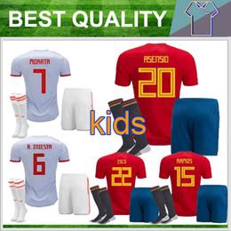 Wholesale Jersey Pant Kit - Thai Kids Kit +socks Spain Football Jersey 2018 World Cup Home home red Boy Soccer Jerseys #7 MORATA #22 ISCO Child Soccer Shirts + pants