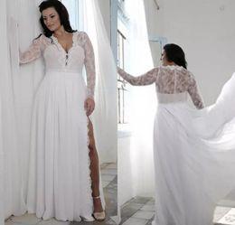 Wholesale Detachable Shirt Lace Wedding Dress - Plus Size Wedding Dresses with Split Sheath Plunging V Neck Illusion Lace Long Sleeves Bridal Gowns Bohemian Boho Brides Formal Wear Cheap
