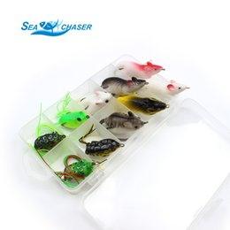 Wholesale Frog Bodies - 2017 NEW 10pcs 10 Colors Topwater Frog and Mouse Hollow Body Soft Fishing Lures Bass Hooks Baits Tackle Set and Tackle Box