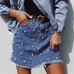 Wholesale irregular hem skirt - Simplee Casual irregular pearls jean skirt women Streetwear fringed hem skinny pencil skirt 2018 pocket denim summer mini skirt