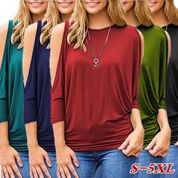 Wholesale Peplum Blouse Red - Summer Autumn Women Plus Size Blouse Casual Scoop Neck Three Quarter Shirt Open Shoulder Tops