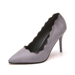 Wholesale Korean Women Dress Up - The Korean version of 2018 spring and autumn new fashion Suede Heels female high-heeled fine with all-match's occupation trend