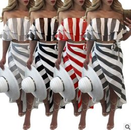Wholesale Ladies Mid Calf Dresses - Explosions women dress Striped ladies clothes clothing Lotus leaf lace bare shoulders Irregular skirt Sexy long skirt female