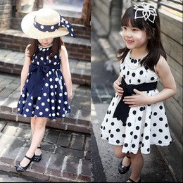 Wholesale Girls Summer Clothes Retail - free ship 2018 new retail clothing Hot girls dresses summer Children's round dot one-piece Dresses