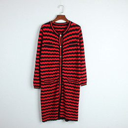 Wholesale Sweater Woman V Neck Striped - 2018 Brand Same Style Pullover Cardigan Sweater Dresses Long Sleeve Fashion V Neck O Neck Striped Panelled Women Clothes DL