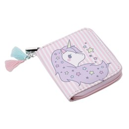 Wholesale bedding sets for girls - New Cartoon Women Unicorn Wallet Coin Pack Storage Bag Student Zip Small Zero Wallet Card For Girls Women PC896527