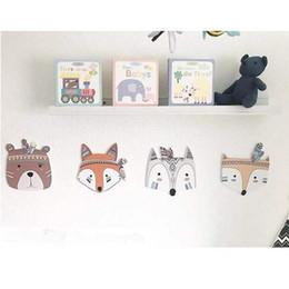 Wholesale Fox Decor - Indian Wooden home Wall Decor Raccoon Fox Photo Prop Children Ins Nordic Room Decoration Wall Sticker