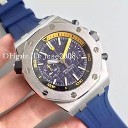 Wholesale Offshore Strap - TOP Luxury watch brand men sports siliver case quartz chronograph vk watch stainless Rubber Strap royla oak offshore original clasp