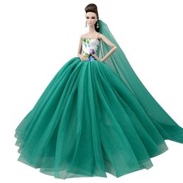 toy wedding dress Promo Codes - NK One Pcs Princess Doll New handmake wedding Dress+Veil Fashion Clothing Gown For Hot Dolls Accessories Best Gift