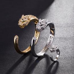 2019 braceleiras de ursinho de aço inoxidável Leopardo Pulseiras Para As Mulheres 18 K Banhado A Ouro Hiphop Jóias Bling Cubic Zirconia Pulseira de Casamento Marca Designer Pulseira Frete Grátis