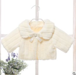 Wholesale Child Plush Coat - Girls faux fur cloaks children long sleeve lapel warmer plush princess shawl coat fashion new kids rhinestones pearl Bows poncho R1712