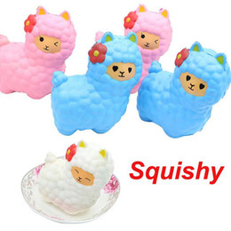Wholesale cute bread - Squishy New Jumbo 17cm Kawaii Sheep Alpaca Soft Cute Animal Squishy Slow Rising Squeeze Bread Cake Sweet Scented Kid Toy Wholesales