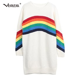 Wholesale rainbow stripe sweater - Verlena 2018 New Dress Sweater Long Sleeve O-Neck Women Long Sweaters Arched Gold Line Stripe Rainbow Pattern Casual Pullovers