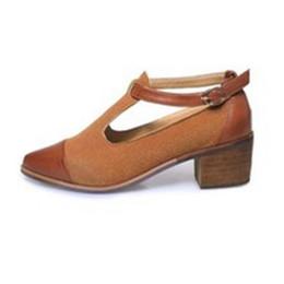 Argentina 2018 nuevos talones de madera señaló zapatos de mujer de moda hebilla hebilla de cuero mate sandalias de las mujeres ocasionales cheap wood sandals shoes Suministro