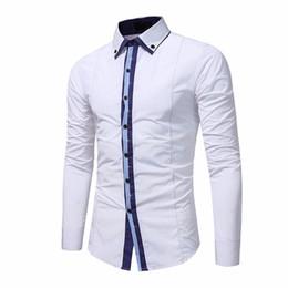 deae8b9937d Men Shirt White Dress Shirt Long Sleeve Slim Fit Camisa Masculina Brand Casual  Male Hawaiian Shirts for Mens Plus Size