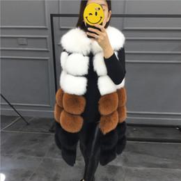 cor de colete de peles Desconto Senhora moda feminina 7 seção cor da pele do falso colete casaco sem mangas cintura casaco de inverno quente longo de pele de raposa colete jaqueta gilet para mulheres