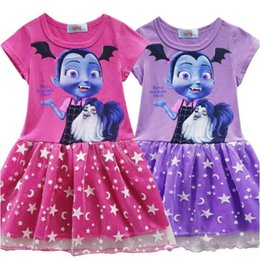 Wholesale old clothing brands - 2 Colors Vampirina Girls Dresses 2~9 Years Old Baby Girls Dress Cotton Vampirina Printed Kids Summer Dress Baby Clothing CCA10107 12pcs
