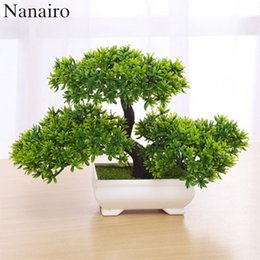 Wholesale White Mini Vases - 1pcs Artificial Bonsai Tree Welcoming Plant Potted Bonsai Fake Mini Flower Green Plant Pine Pot Vase Wedding Home Decoration