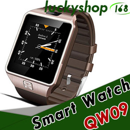 Wholesale Android Watch 3g - 50X SMARCENT 3G WIFI QW09 Android Smart Watch 512MB 4GB Bluetooth 4.0 Real-Pedometer SIM Card Call Anti-lost Smartwatch PK DZ09 GT08 DHL