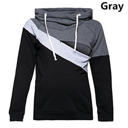 Wholesale Nursing T Shirts - Plus Size Pregnancy Nursing Long Sleeves Maternity Clothes Hooded Breastfeeding Tops Patchwork Fashion T-shirt for Pregnant Women