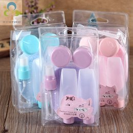 Wholesale empty setting - 7pcs set Plastic Transparent Small Empty Perfume Spray Bottle Outdoor Travel MakeUp Skin Care Lotion Case Container Bottle WYQ