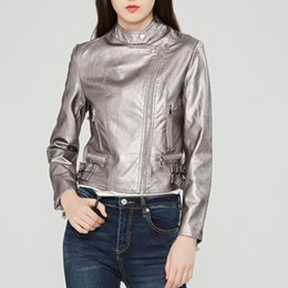 Wholesale womens long black leather coats - Fashion mandarin collar womens jackets black pink wine red leather clothing slim motorcycle leather jacket women outerwear coats
