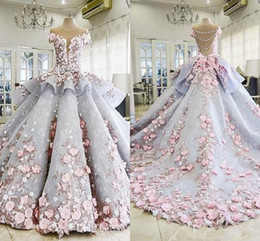 Wholesale peplum shorts - 2018 Quinceanera Ball Gown Dresses Peplum 3D Flowers Lace Applique Cap Sleeves Sweet 16 Floor Length Plus Size Puffy Party Prom Evening Gown